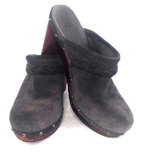 UGG Clogs Gray Leather Suede